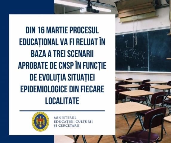 Din 16 martie procesul educațional va fi reluat în baza a trei scenarii aprobate de CNSP în funcție de evoluția situației epidemiologice din fiecare localitate